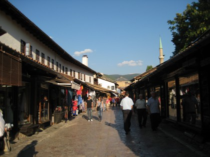 Pedestrian area in old town of Sarajevo
