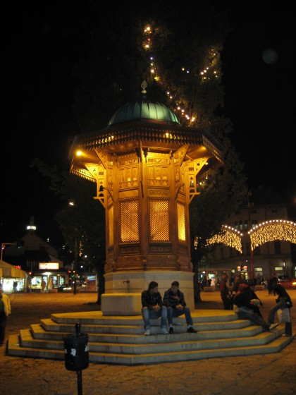 Sebilj wooden fountain in the old town of Sarajevo by night