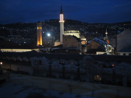 View from Hotel Evropa in Sarajevo by night