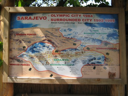 Sarajevo under siege presented on the map of the Olimpic city of 1984