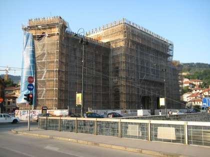 National Library under reconstruction in September 2009, Sarajevo