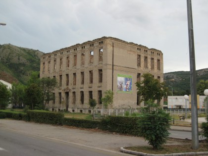 A ruined building during the Bosnian war in Mostar